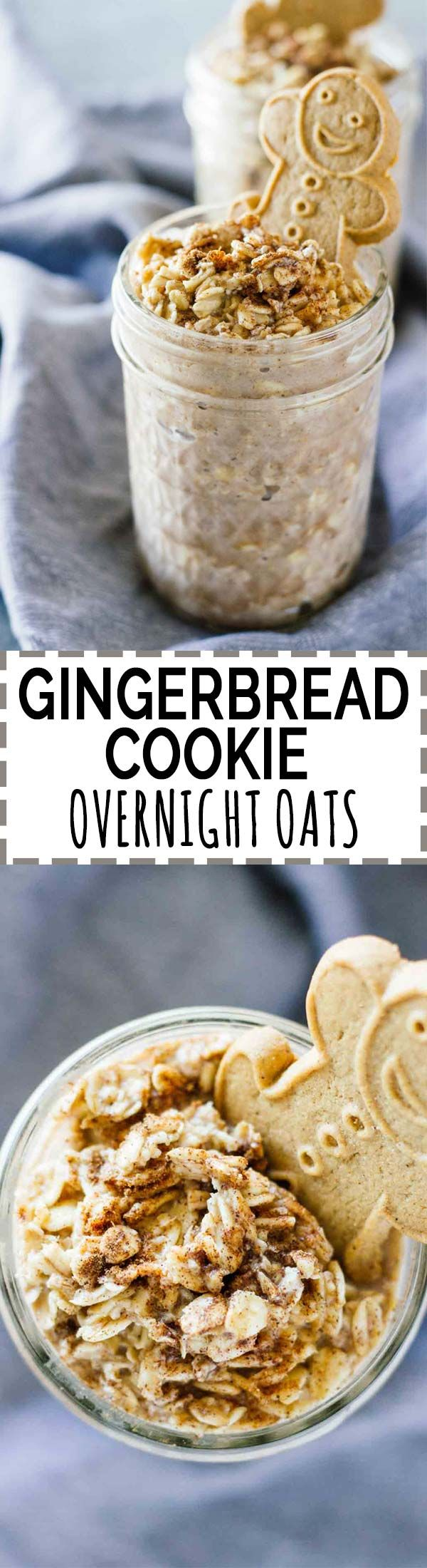Gingerbread Cookie Overnight Oats! Vegan, vegetarian, gluten-free, and refined sugar free. Healthy and perfect to take on-the-go this holiday season!