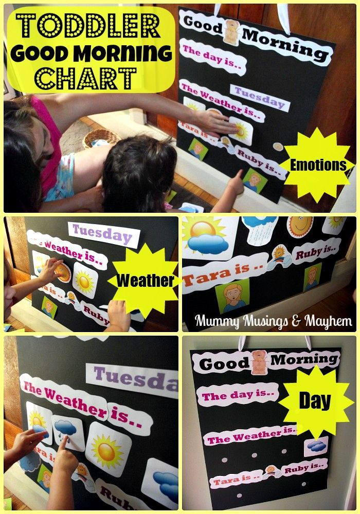 An easy to make chart to help toddlers explore days of the week, weather and their emotions!