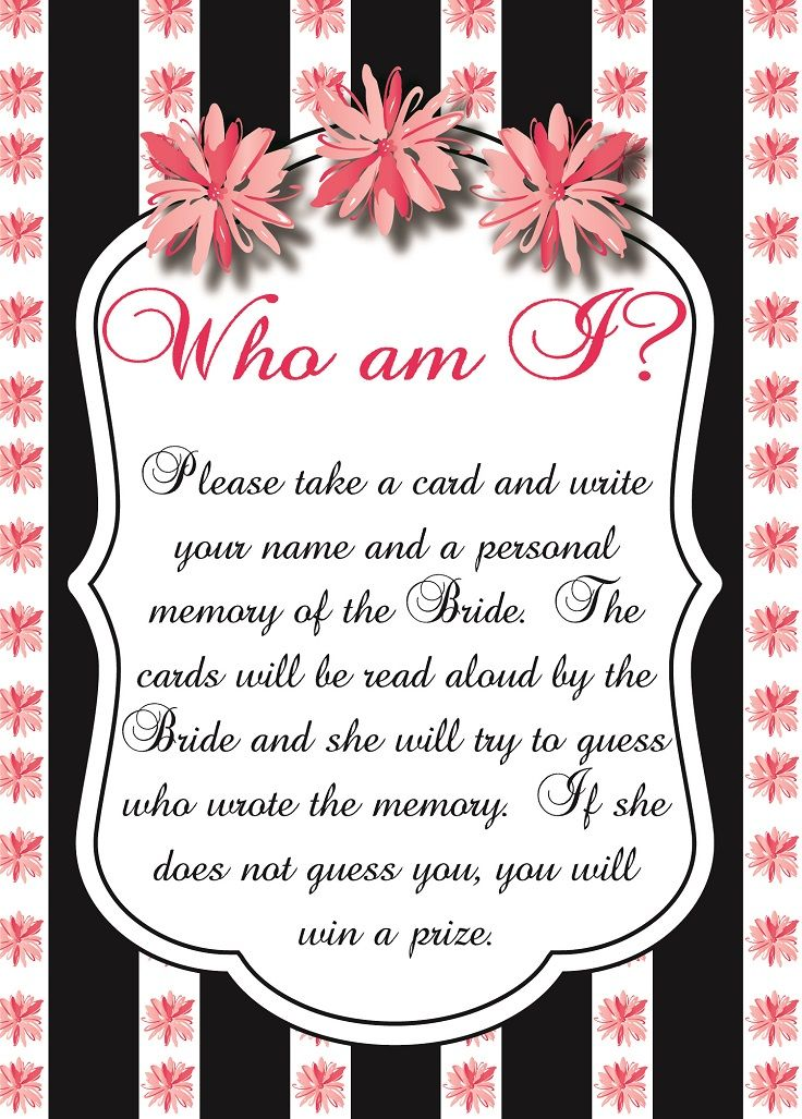 Who am I?  Great for Bridal Showers