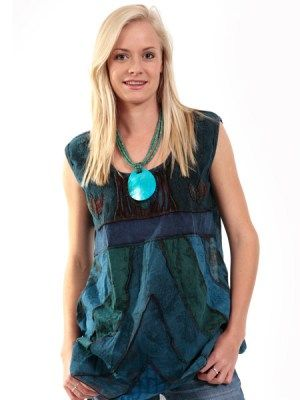 Mix of soft cotton and rayon fabrics This sleeveless top has been overdyed #hippyclothing #boho-chic #hippieclothes #himalayantops #summerfashion