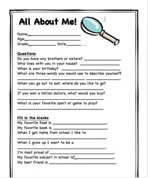 All about me Beginning of year or birthday - cute idea to keep each year for the kids to look back on