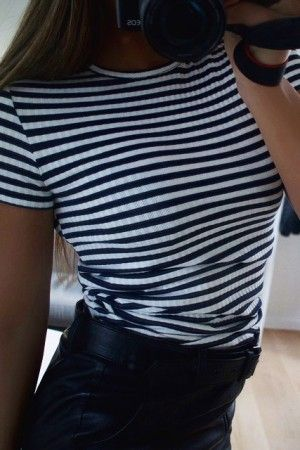 Rue Striped Navy Rib Top