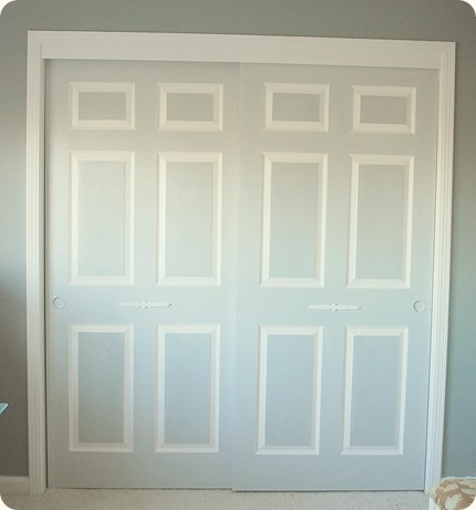 closet doors idea 3.  Painting them in complimentary shades of the same color for interest and dimension.