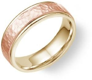 Gorgeous! A simple hammered rose-gold wedding band.