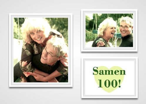 uitnodiging samen 100 jaar met meerdere foto's / invitation to a together we're 100 party