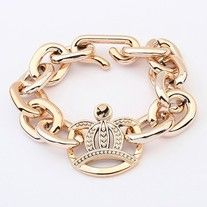This cute chunky chain bracelet has a crown charm in gold setting. #bracelets #accessories #fashion   Length: 23cm Clasp Type: Toggle-clasps Metals Type: Zinc Alloy