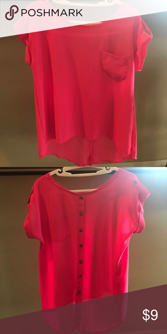 Airy hot pink short sleeve size small Short sleeve airy hot pink shirt; front left side pocket and bad is lined with button all the way down - material is longer in the back than the front- size small; like new mine Tops Blouses