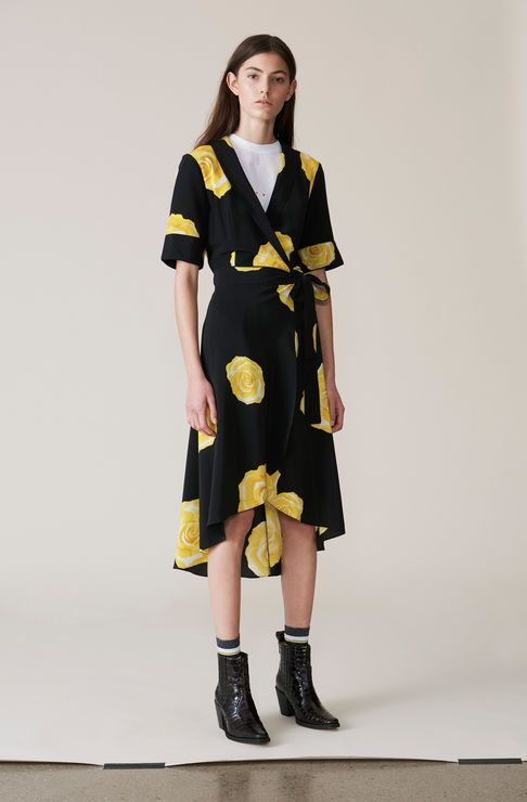 Fayette Silk Wrap Dress, Lemon