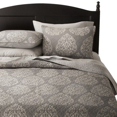 Hope Medallion Quilt Set (Queen) 3 Piece Gray - Mudhut