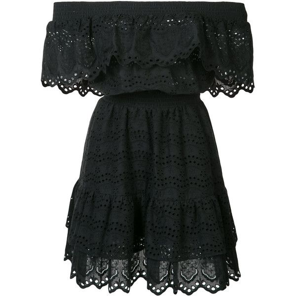 Love Shack Fancy off shoulder ruffle eyelet dress (€335) ❤ liked on Polyvore featuring dresses, black, eyelet dress, flounce dress, cotton dresses, ruffle dress and flouncy dress