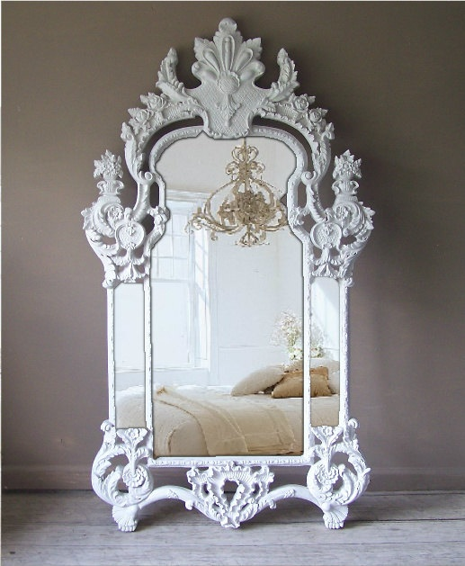 Vintage rococo mirror baroque shabby chic huge leaning for Baroque mirror