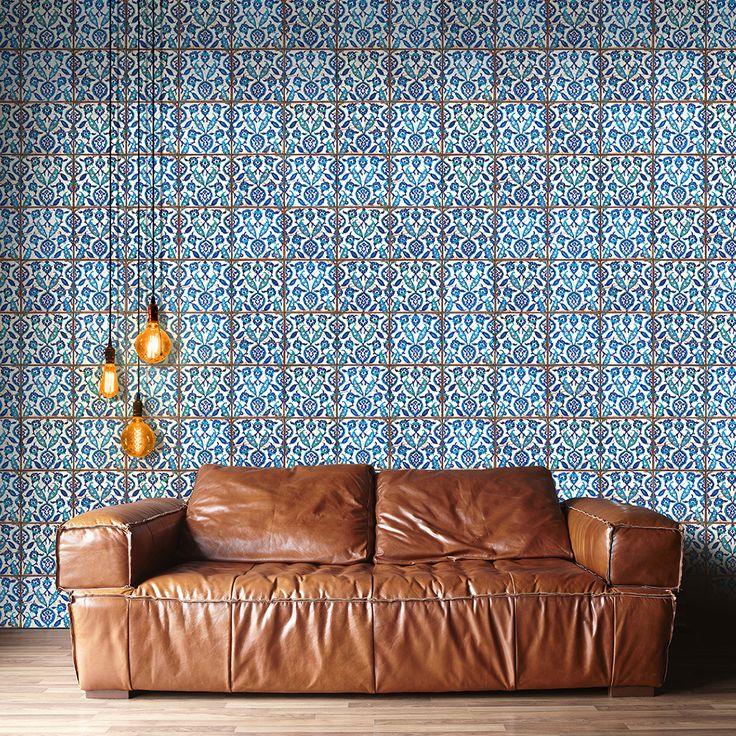 """NEU: Unser Fliesenspiegel """"Hamam Vibes"""" - blaue Fliesenaufkleber mit ornamenten im orientalischen Look!"""