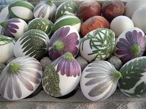 Natural egg dyeing. (These eggs aren't yet dyed, but I love the flowers on the eggs in this pic.)