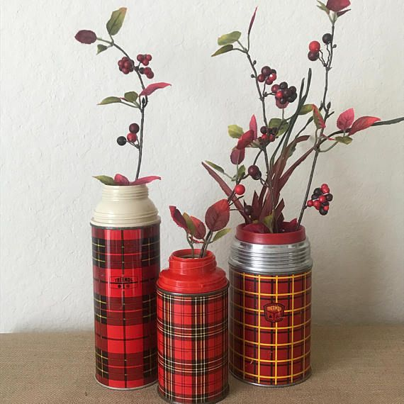 Three Vintage Metal Thermos in Three Different Red Plaid Patterns. You have seen in the magazines*... I have done the hunting for you! These three Great Vintage thermos containers are STILL workable Thermoses... but when ever you want... they can TRANSFORM into great Rustic, Shabby, Vases.