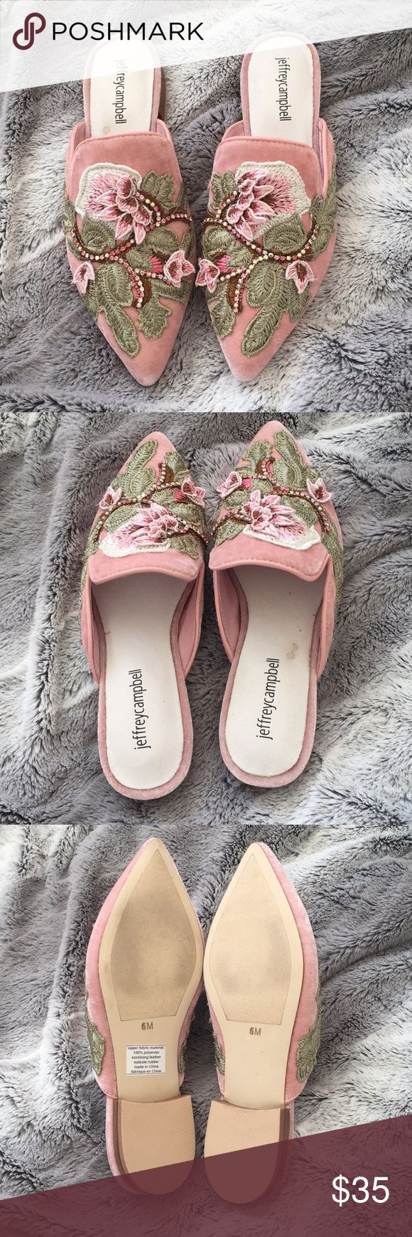 JEFFREY CAMPBELL FLATS Valencia Flats in Blush Velvet by Jeffrey Campbell of Free People.  There's a stain by the logo. I bought it like that from the store. It's brand new purchased, but it's worn on the bottom probably from being tried on in stores.  Velvet mule style flats featuring an ornate design with floral embroidery and beaded embellishments on the top of the foot.  Pointed toe Subtle block heel Padded footbed for support Jeffrey Campbell Shoes Flats & Loafers
