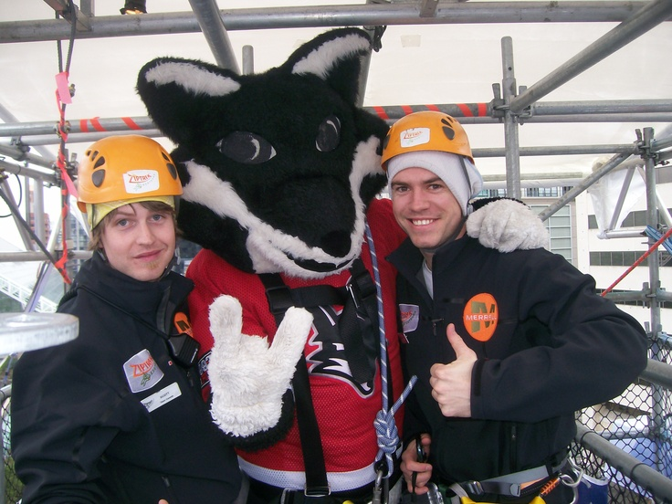 A few mascots decided to give it a go! (Robson Square zipline - 2010 Winter Olympics)