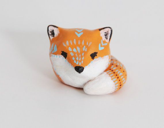Cute fox animal totem - Polymer clay animal OOAK figurine