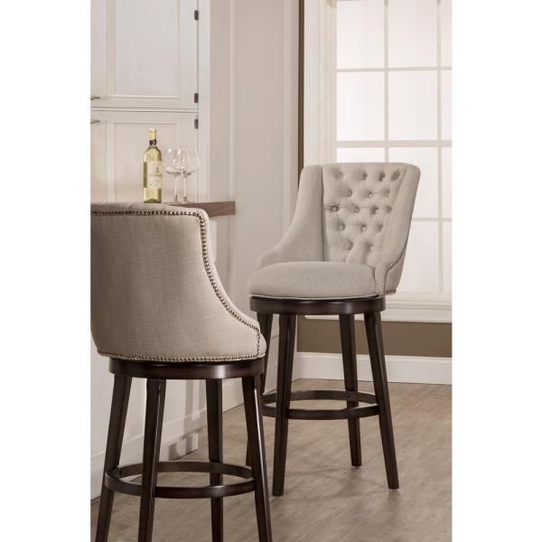 Hillsdale Furniture Halbrooke 24 In Chocolate And Cream Swivel Counter Stool 5993 826 The Home Depot Comfy Bar Stools Bar Stools With Backs Swivel Bar Stools Kitchen