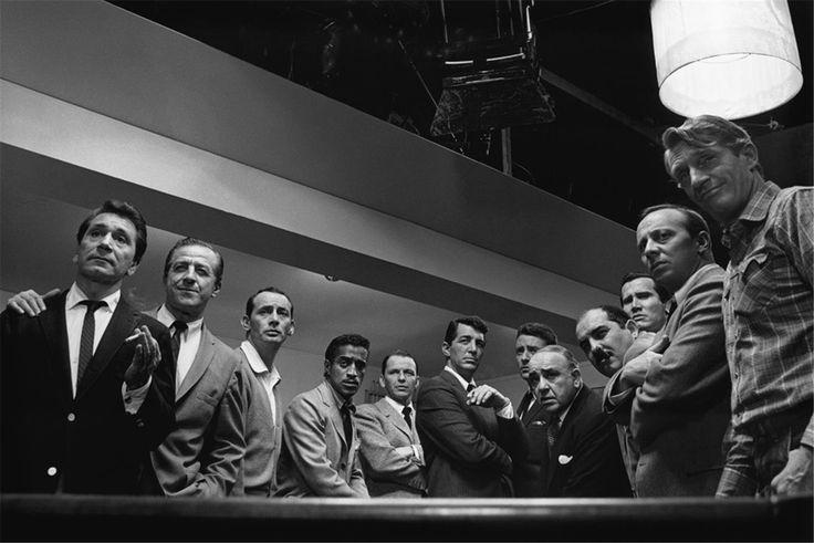 Ocean's Eleven original cast photographed on set, 1960    Full cast, from left to right: Richard Conte, Buddy Lester, Joey Bishop, Sammy Davis Jr., Frank Sinatra, Dean Martin, Peter Lawford, Akim Tamiroff, Richard Benedict, Henry Silva, Norman Fell and Clem Harvey.