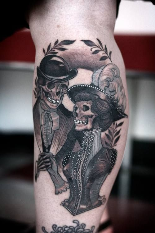 skeleton love. black and white tattoo