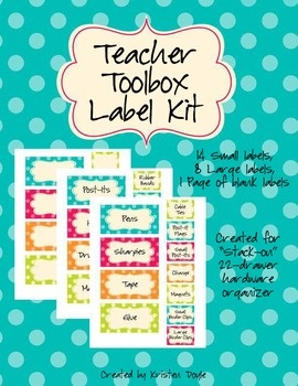Tpt freebie: Teacher Toolbox Labels- turquoise polka dot theme. So excited about