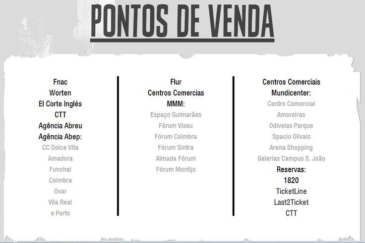 Vê onde podes comprar o teu bilhete.  #bilheteiras #bilhetes #online #last2ticket #ticketine #ctt #VilardeMouros #festival #2014
