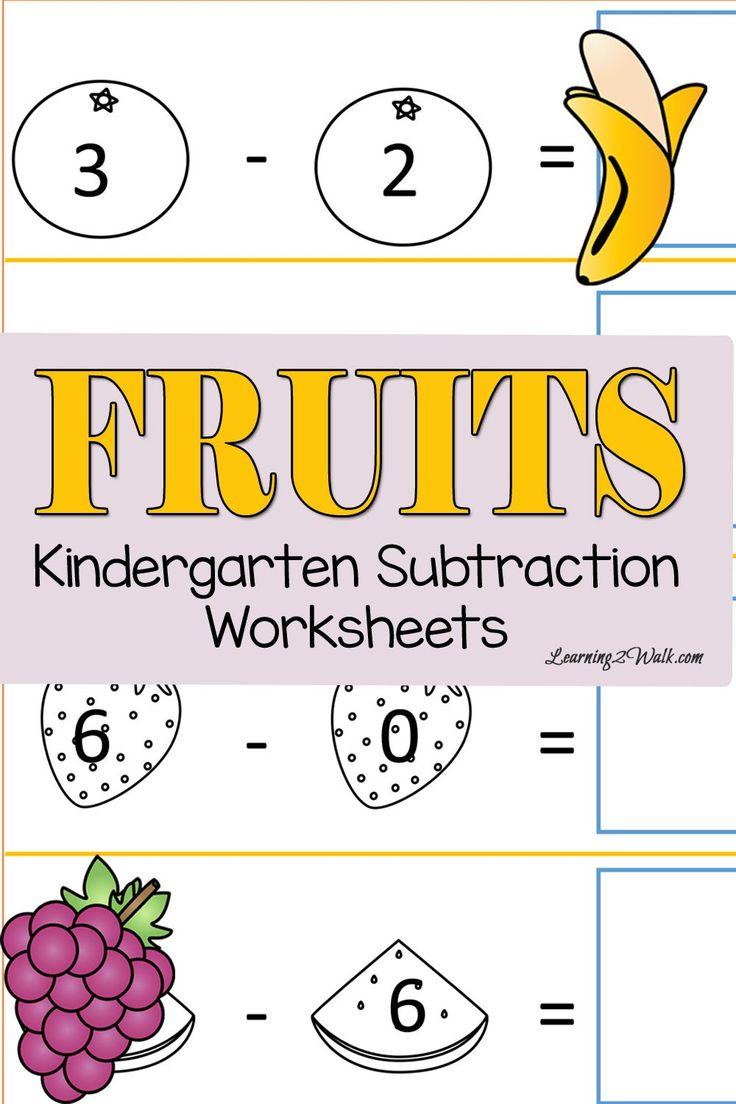Deixe os seus filhos para cortar e colar o seu caminho com teses frutas gratuitos planilhas jardim de infância subtração.