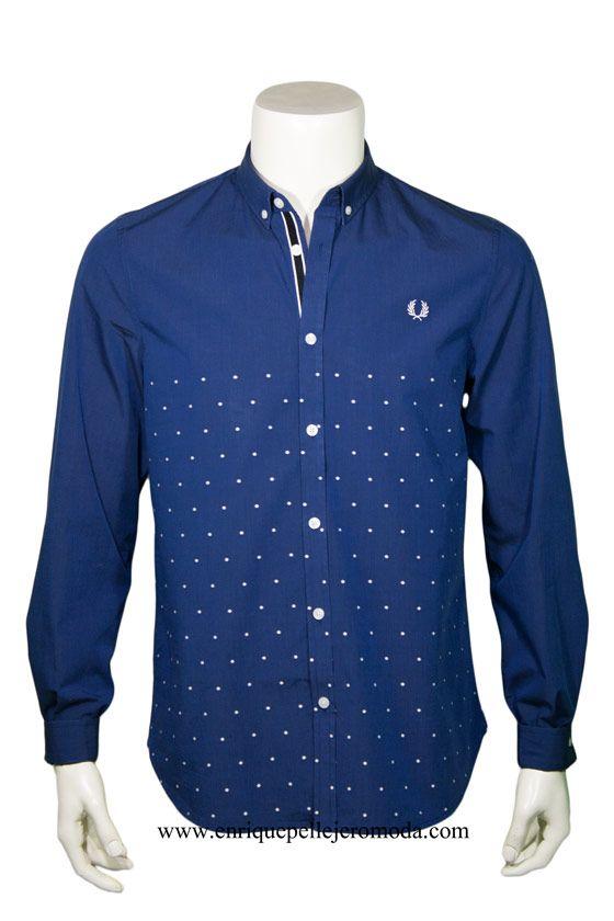 Fred Perry camisa azul marino puntos blancos
