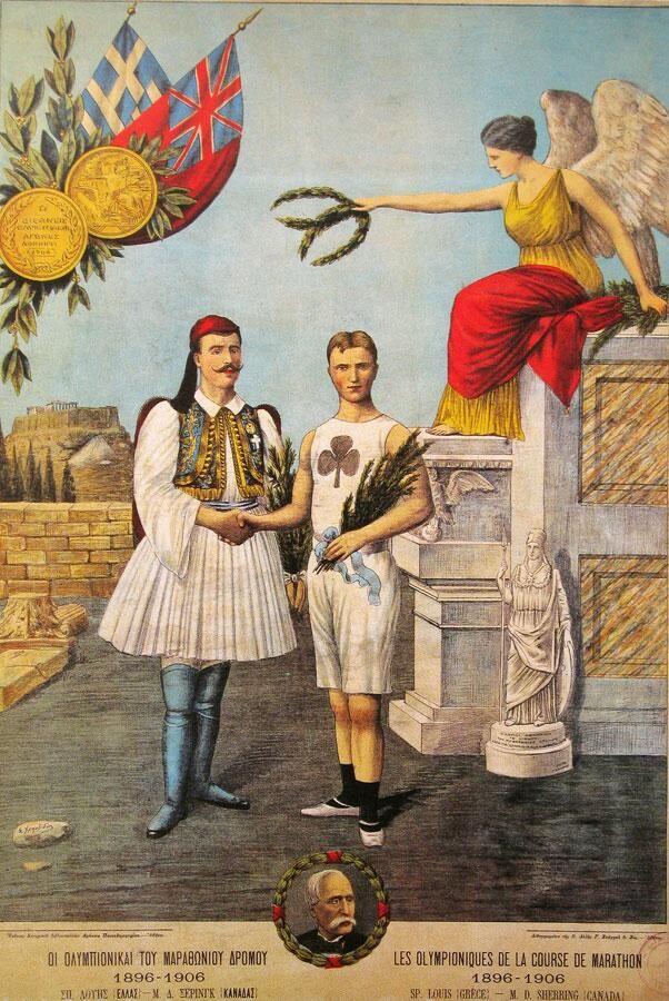 The Olympians Marathon: Spyros Louis in 1896 & MD Sherring 1906 #athensmarathon #benakimuseumcollection #lithography