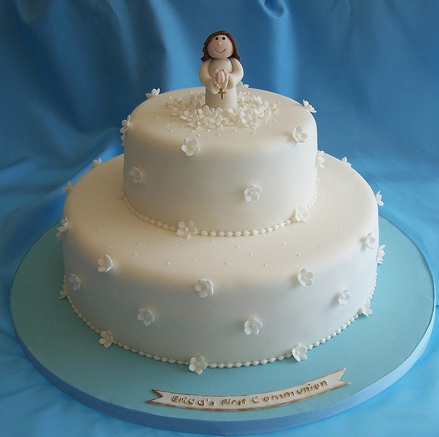 First Communion Cake by cakespace - Beth (Chantilly Cake Designs), via Flickr (with a cross instead of that figurine)