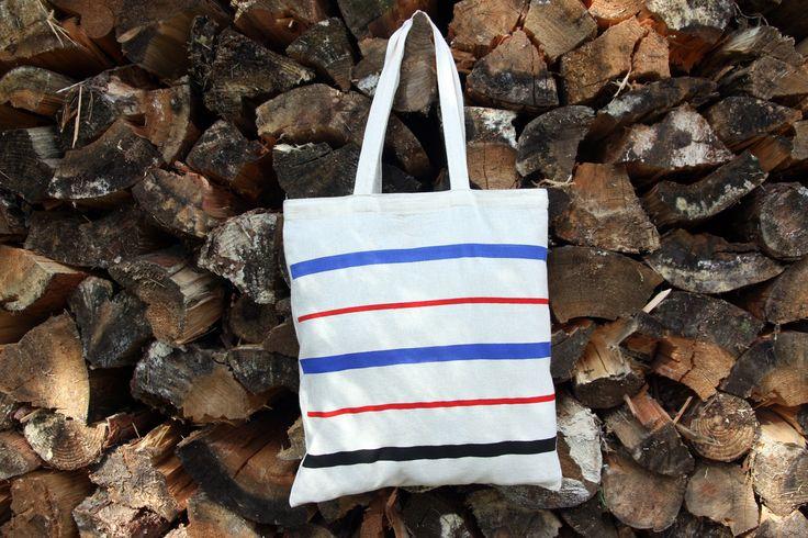 BLUE, RED, BLACK stripes, striped cotton canvas tote bag, shoulder bag, grocery bag
