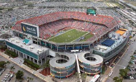 """Sun Life Stadium"" formerly known as ""Joe Robbie Stadium""...current home of the ""Orange Bowl"" & the Miami Dolphins. Located in Miami, FL."
