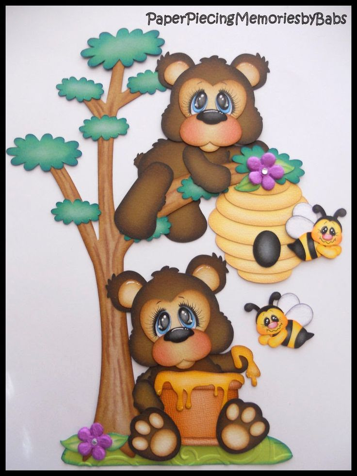 Honey Bears created by PAPER PIECING MEMORIES BY BABS for scrapbooking pages. Pattern by Cuddly Cute Designs.