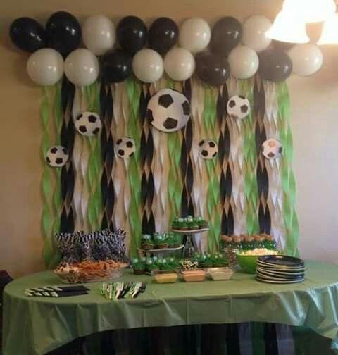 Mesa de dulces de futbol