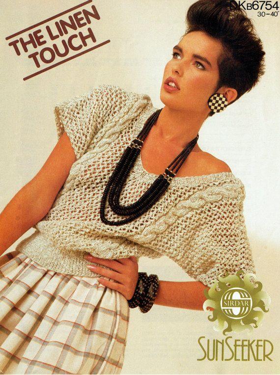 PDF Vintage 1980s Women Ladies Knitting Pattern Dolman Summer