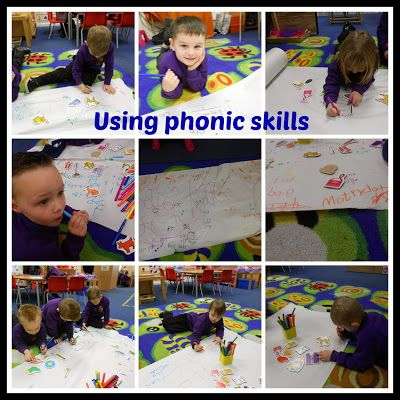 Foundation Stage Two blog - Huge paper roll, felt tips and cvc words = phonic fun!!