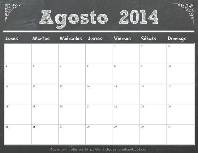 Calendarios 2014 con diseño de pizarra: Calendario Agosto 2014