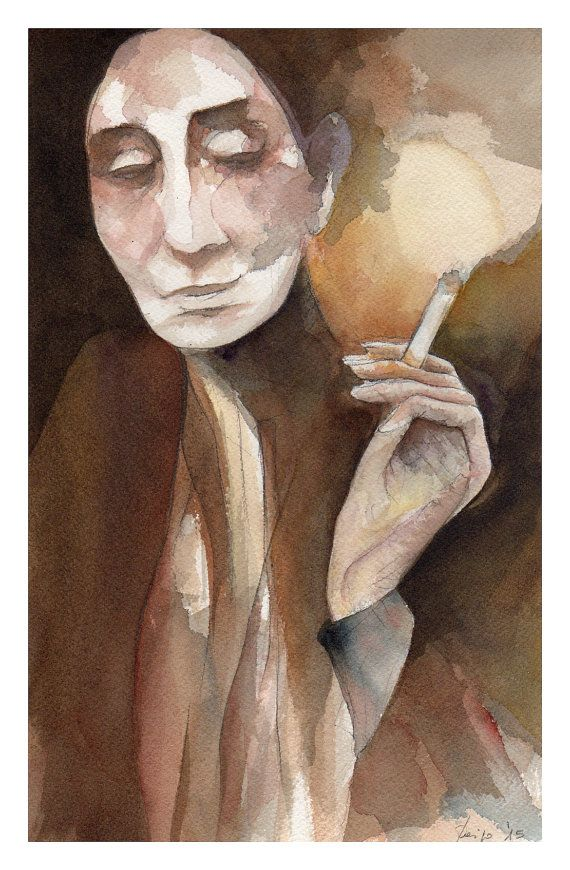 Ritratto di Pina Bausch - Portrait of Pina Bausch - Watercolor of Pina Bausch