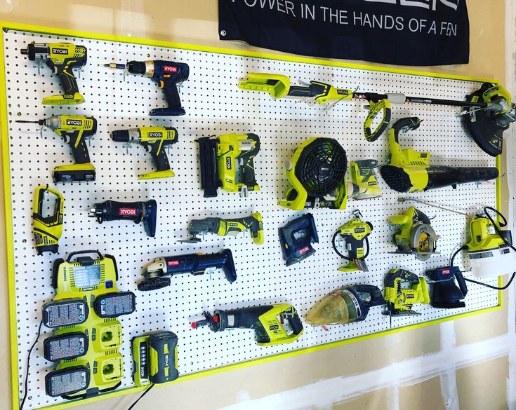 Ryobi Tool Wall Organizer I Used 4x8 Peg Board On Top Of 1x3 Furring Strips I Then Used 1x2 To Frame It I Took A Tool Into Peg Board Wall Organization