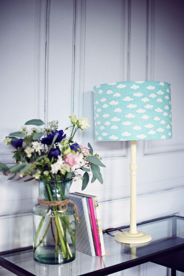 30 cm blue cloud lampshade, cloud decor, cloud lamp shade, boys nursery decor. £34.99