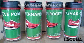 Gelas minum insert paper tipe Laguna, pesanan PT. Nike Indonesia, raksasa produsen peralatan olahraga. Kapasitas  350ml. Product size: 17 x 7.5 x 7.5cm. Color: Blue, green, red, orange, yellow.
