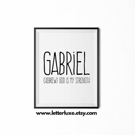 Gabriel Name Meaning Printable Nursery Art, Baby Shower Gift Idea, Inspirational Typography Art, Digital Print, Christian Nursery Wall Decor