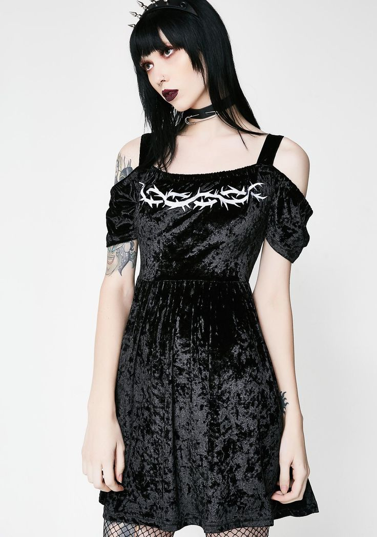 Disturbia Thorn Dress  cuz if ur not careful, u can get hurt. Do ya thang with this crushed velvet off the shoulder jacket with an embroidered thornz on the front and back.#DollsKill #Disturbia #punkgirl #gothkids #newarrivals