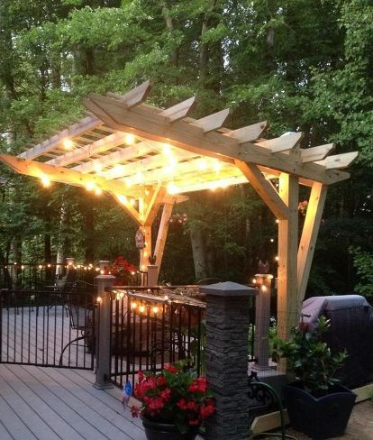 cantilevered pergola diy designed and built, decks, diy, how to, outdoor living, woodworking projects, Cantilevered pergola over part of our deck