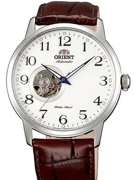 Orient FDB08005W watch Features a 21-jewel Orient automatic movement, an open heart feature at 8:00, and a continuous operation time of more than 40 hours. Includes a white dial, mineral crystal, black hour numerals and luminous hands.