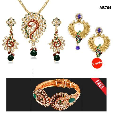 COMBOS-Multi Color  Alloy Jewellery Set - 1303709 , 1400207 , 2102105