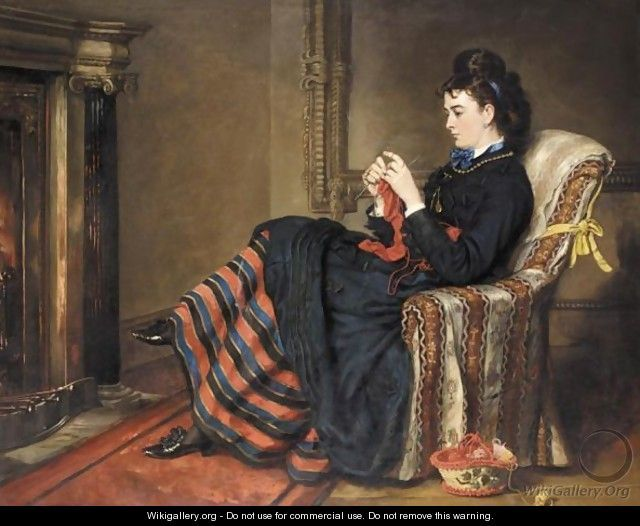 Knitting A Stocking - Sir Francis Grant - WikiGallery.org, the largest ...