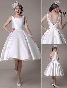 Ivory Wedding Dress Scoop Backless Knee-Length Satin Wedding Gown Milanoo