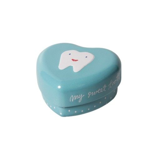 Caja metálica de corazón azul para guardar los dientes - Maileg