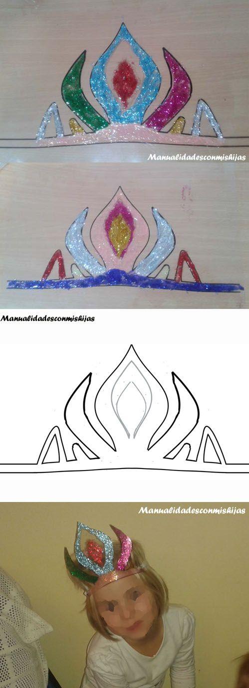 Corona de la Reina Elsa de Arendel Frozen Molde gratuito Template